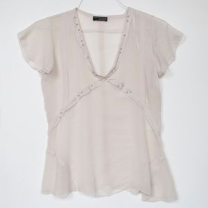 White Zara W&B Collection Sheer Beaded Blouse